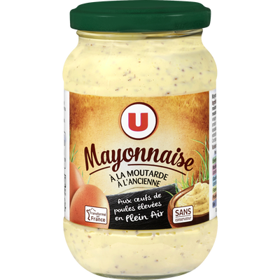 Mayonnaise à la moutarde à l'ancienne U , bocal de 235g