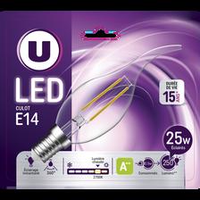 Ampoule LED PREMIUM U, flamme coup de vent 25w E14, verre filament, transparente, lumière chaude