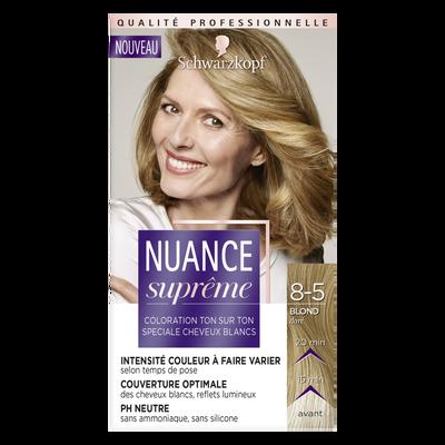 Coloration ton sur ton blond doré NUANCE SUPREME, 8-5