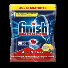 Finish Powerball Tout En 1 Dégraissant Citron , X45 + 45 Tablettes