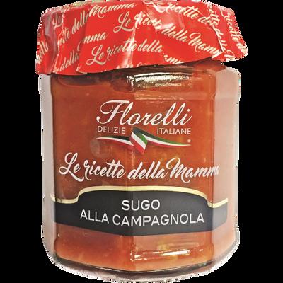 Sauce Campagnola tomate aux olives, aux poivrons et aux câpres FLORELLI, 200g