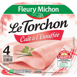 Jambon le torchon cuit à l'étouffée sans couenne FLEURY MICHON 4 tranches 160g