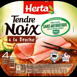 Jambon tendre noix à la broche sans antibiotique HERTA, 4 tranches soit 120g