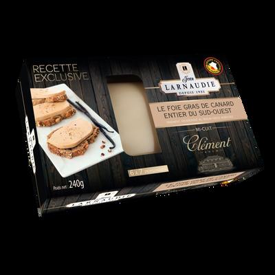 Foie gras de canard entier du Sud-Ouest au rhum Clément JEAN LARNAUDIE, coque de 240g