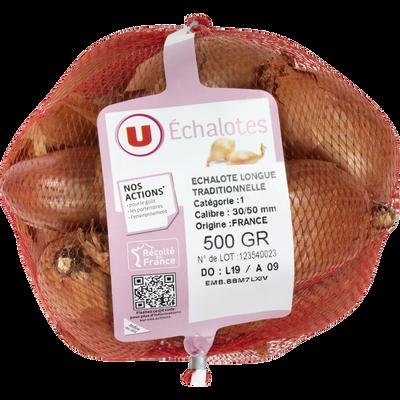 Echalote traditionnelle longue, U, calibre 30/50, catégorie 1, France,Filet 500g