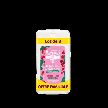 Le Petit Marseillais Gel Douche Les Petites Creations Groseille Et Menthe Bio Le Petitmarseillais Format Familial 3x250 Ml