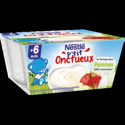 Dessert infantile au fromage blanc et pomme P'tit Onctueux NESTLE, dès6 mois, 4x100g
