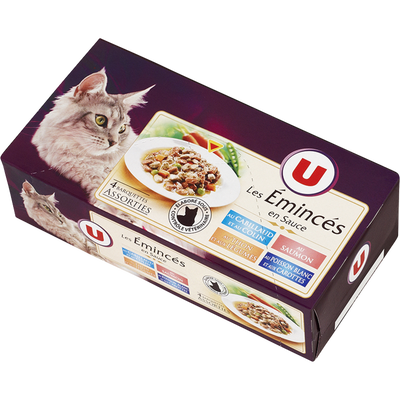 Emincé sauce pour chat cabillaud et colin, saumon et thon, légumes poisson carottes U,  barquette 4x100g