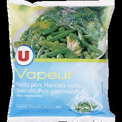Légumes Vapeur petits pois, haricots verts et brocolis U, 600g