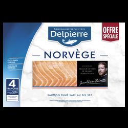Saumon atlantique fumé élevé en Norvège DELPIERRE, 4 tranches soit 160g