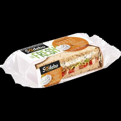 Sandwich pain de mie aux céréales poulet rôti fromage frais ail et fines herbes SODEBO, 190g