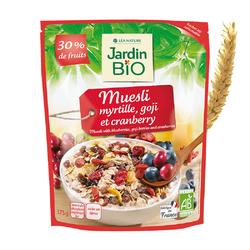 Museli myrtille goji cramberry 30% fruits JARDIN BIO 375g