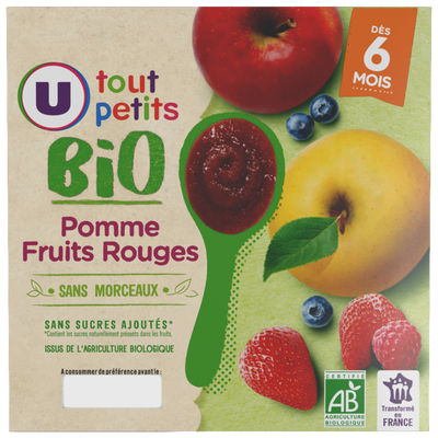 Pots dessert pomme fruits rouges 6 mois U TOUT BIO PETITS 4x100g