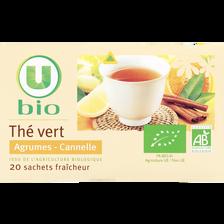 Thé vert agrumes cannelle U BIO, boîte de 20 sachets, 36g
