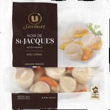 Noix de St Jacques France surgelés avec corail U SAVEURS, 300g