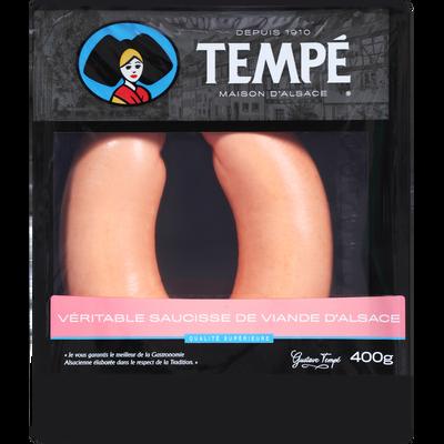 Saucisse de viande boyau naturel,TEMPE, 400g
