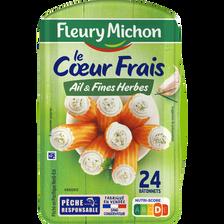 Bâtonnets de surimi Coeur Frais ail et fines herbes FLEURY MICHON, x24, 384g