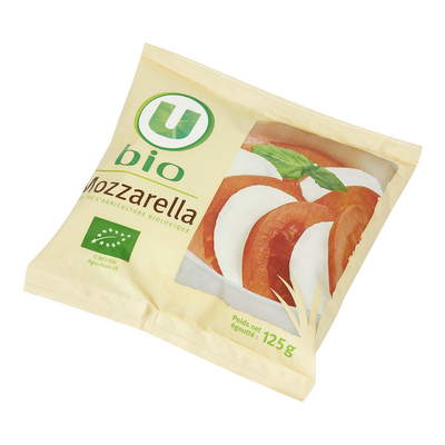 Mozzarella au lait pasteurisé U BIO, 17% de MG, 125g
