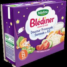 Soupe infantile douceur provençale, semoule de riz BLEDINER, dès 8 mois, BLEDINA 2x250ml