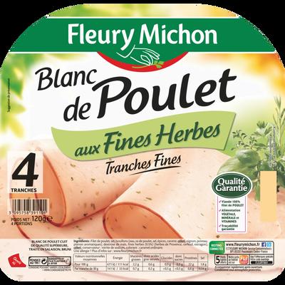 Filet de poulet au fines herbes FLEURY MICHON, 4 tranches fines, 120g