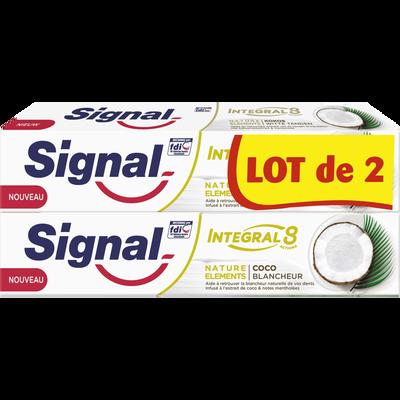 Dentifrice intégral 8 coco blancheur SIGNAL, 2 tubes de 75ml