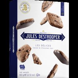 Biscuits au cacao avec morceaux de chocolat et chocolat noir JULES DESTROOPER, 60g