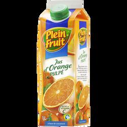Jus à base de concentré orange Plein Fruit, brique de 1l
