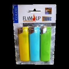 Briquets électroniques Tronic Color sous blister FLAM'UP, x3