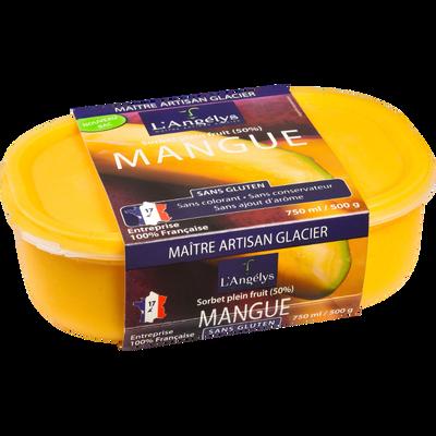 Sorbet plein fruit à la mangue ANGELYS, pot de 500g