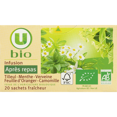 Infusion après repas U BIO, 20 sachets, boîte de 30g