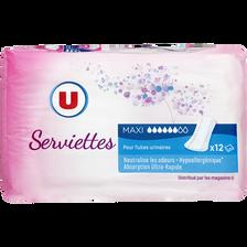 Serviettes incontinence maxi U, x12