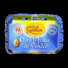 Oeufs frais Vendée daté jour ponte gros, GESLIN, boîte de 6