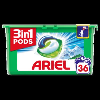 Lessive liquide alpine pods ARIEL, boîte de 36 doses (972g)