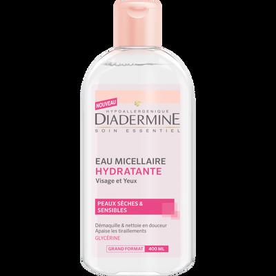 Eau micellaire hydratante pour peaux sèches et sensibles DIADERMINE, flacon de 400ml