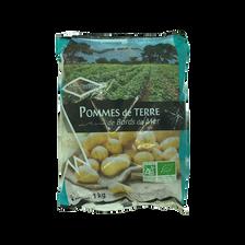 Pomme de terre Rikéa, primeur, de consommation, BIO, calibre 28/58mm,catégorie 2, France, sachet fraicheur 1kg