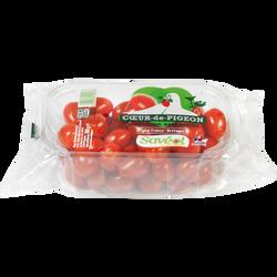 Tomate cerise, segment Les cerises allongées, coeur de pigeon, catégorie Extra, France, barquette, 500g