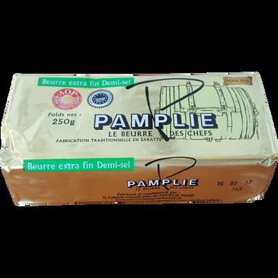Beurre de baratte pasteurisé AOP, demi-sel, 80% de mg, PAMPLIE, plaquette de 250g