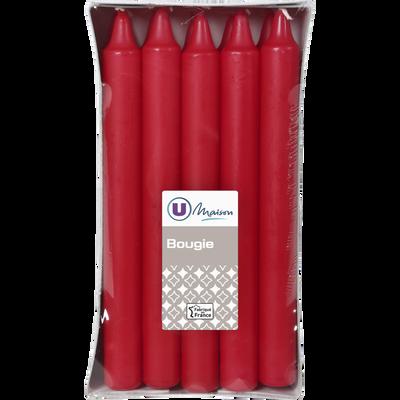 Bougies U MAISON, non parfumées, 19x180mm, rouges, 10 unités
