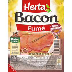 Bacon tranches fines HERTA, 15 tranches soit 150g