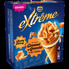 Cônes chunk caramel amande EXTREME, 4x64g soit 256g
