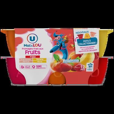 Fromage frais au lait pasteurisé sucré aux fruits 2% de matière grasseU MAT & LOU, 12x50G