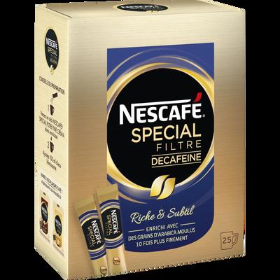 Café soluble décaféiné Spécial Filtre NESCAFE, 25 sticks, 50g