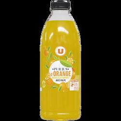 100 % Pur jus d'orange avec pulpe U, bouteille en plastique de 1l