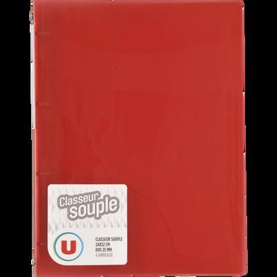 Classeur souple U, format A4, dos 25mm, rouge