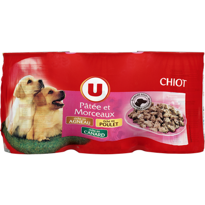 Patée en morceaux pour chiot à l'agneau, poulet et canard U, 3 boîtes,400g