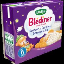 Soupe infantile carotte et semoule de riz BLEDINER, dès 6 mois, 2x250ml