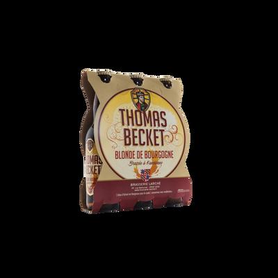 Bière blonde THOMAS BECKET 6.5°, pack de 3x33cl