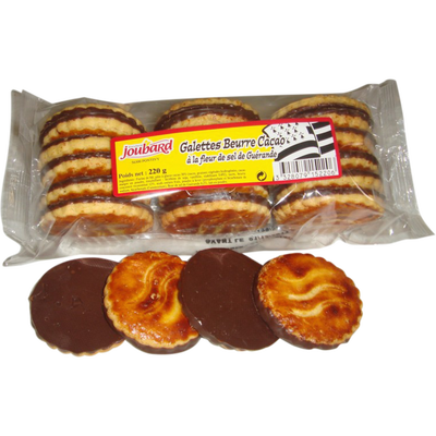 Galettes beurre nappées cacao, BISCUITERIE JOUBARD, mini barquettes, 220g