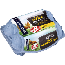 Oeufs PA LABEL ROUGE, issus de poules élevées sans antibiotique, en plein air et nourries sans OGM (0,9%) x12, 760g