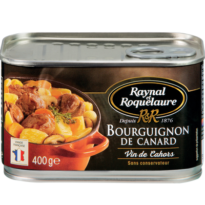 Bourguignon de canard vin de Cahors RAYNAL ROQUELAURE, boîte de 400g